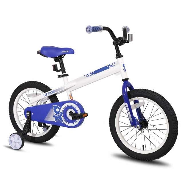 BIKE029wh-16 JOYSTAR Whizz Series 16-Inch Ride On Kids Bike w/ Training Wheels, White & Blue