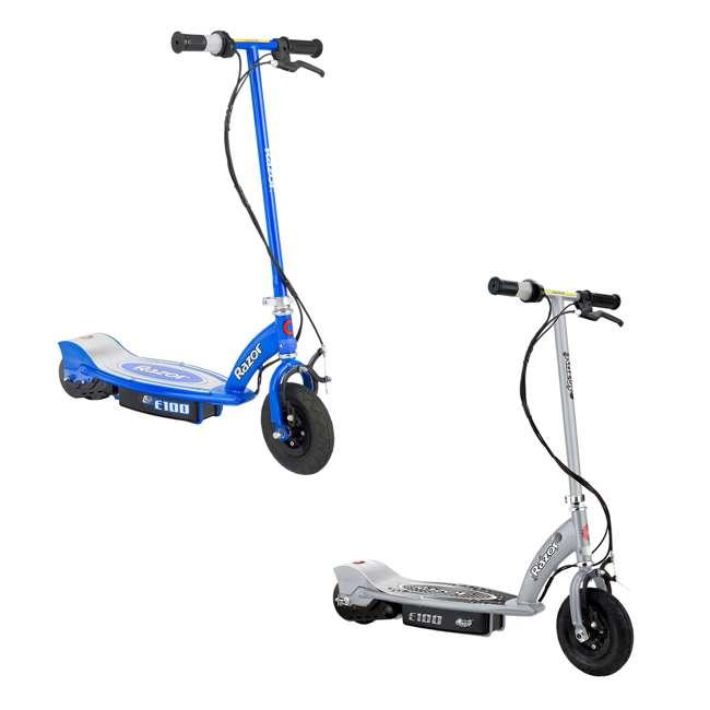razor e100 motorized electric scooters  1 silver  u0026 1 blue
