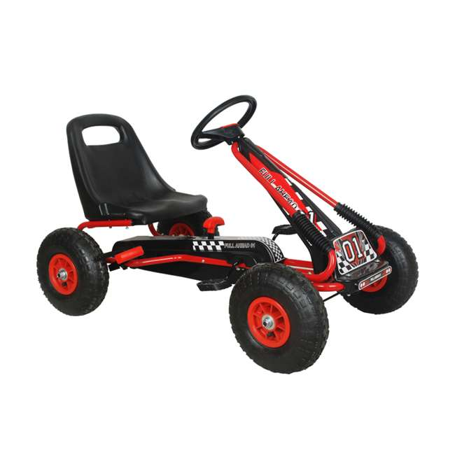1 PGCR NextGen Pedal Go Cart for Children with Adjustable Seat and Pneumatic Tires, Red