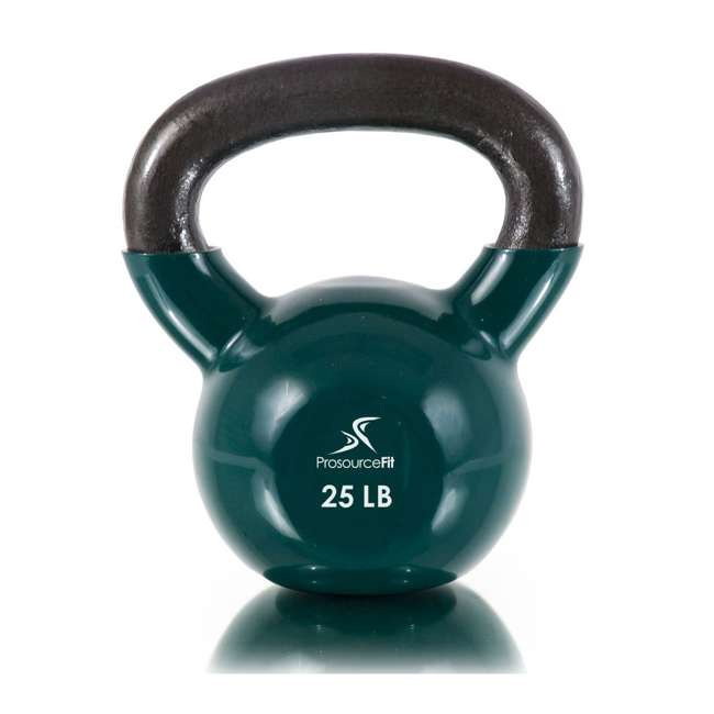 ps-1964-vck-25 Prosource Fit 25 Pound Vinyl Coated Easy Grip Solid Cast Iron Kettlebell, Green