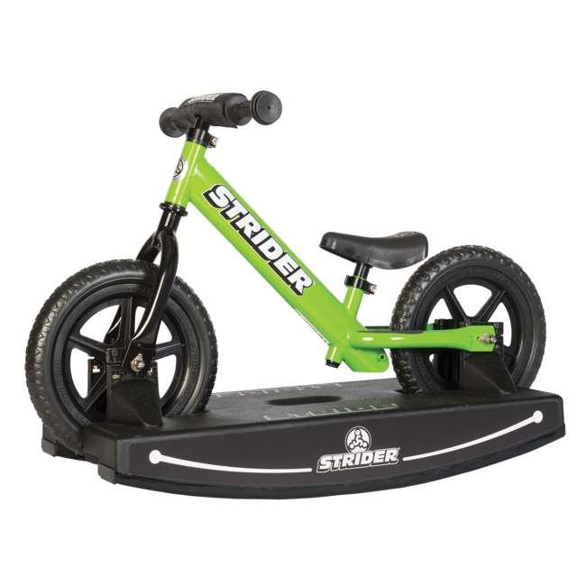 ST-S4WT + PROCKBASE-12-BK Strider 12 Sport Balance Bike, White + Rocking and Rolling Balance Base, Black 5