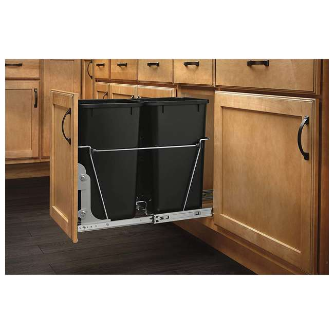 RV-15KD-18C S-30 Rev-A-Shelf RV-15KD-18C S Double 27 Quart Pullout Waste Bin Container, Chrome 2