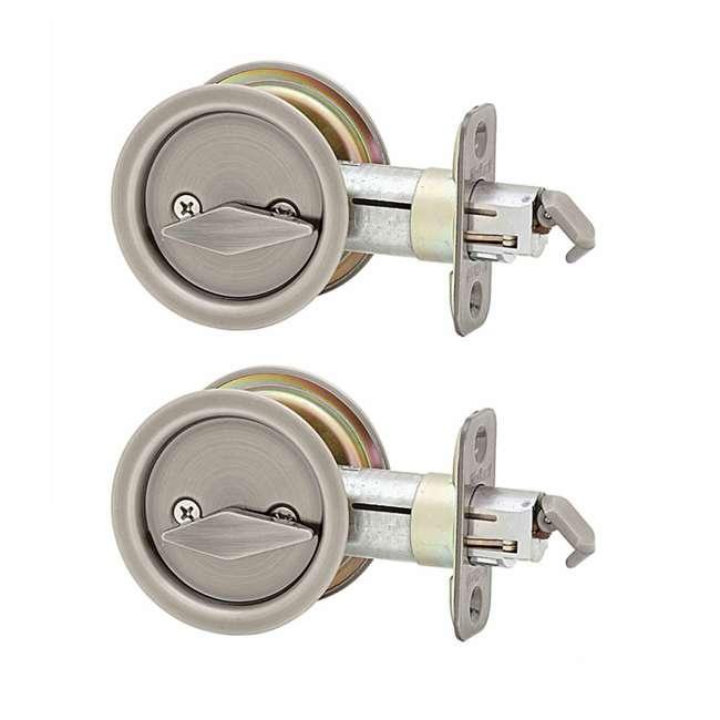 93350-011 Kwikset Bed Bathroom Privacy Sliding Door Lock, Antique Nickel (2 Pack)