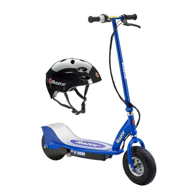 13113640 + 97778 Razor E300 Electric Scooter (Blue) & Youth Helmet (Black)