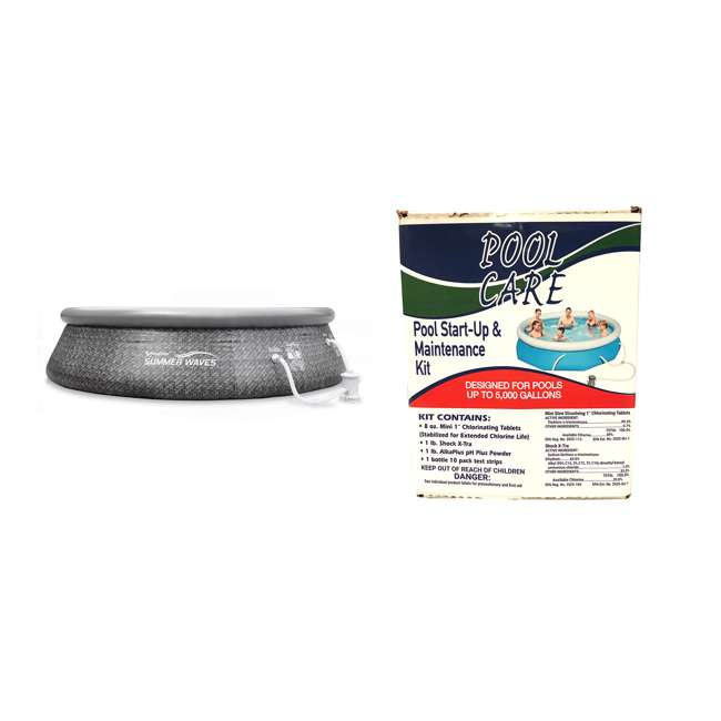 "P10012336154 + QLC-42001 Summer Waves 12' x 33"" Above Ground Pool + Qualco Pool Chemical Kit"