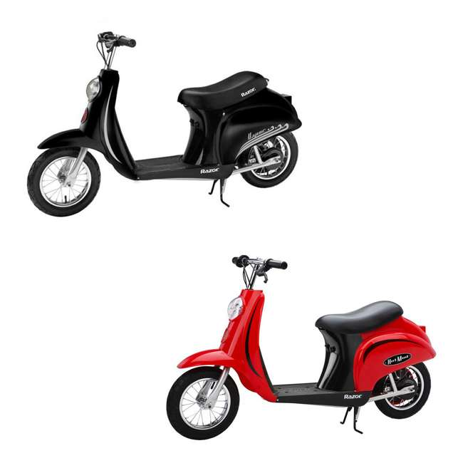 15130656 + 15130601 Razor Pocket Mod Miniature Electric Scooters, 1 Red & 1 Black
