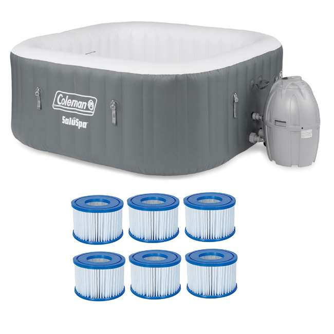 15442-BW + 6 x 58323E-BW Coleman SaluSpa 4 Person Square Portable Inflatable Hot Tub & 6-pack of Filters