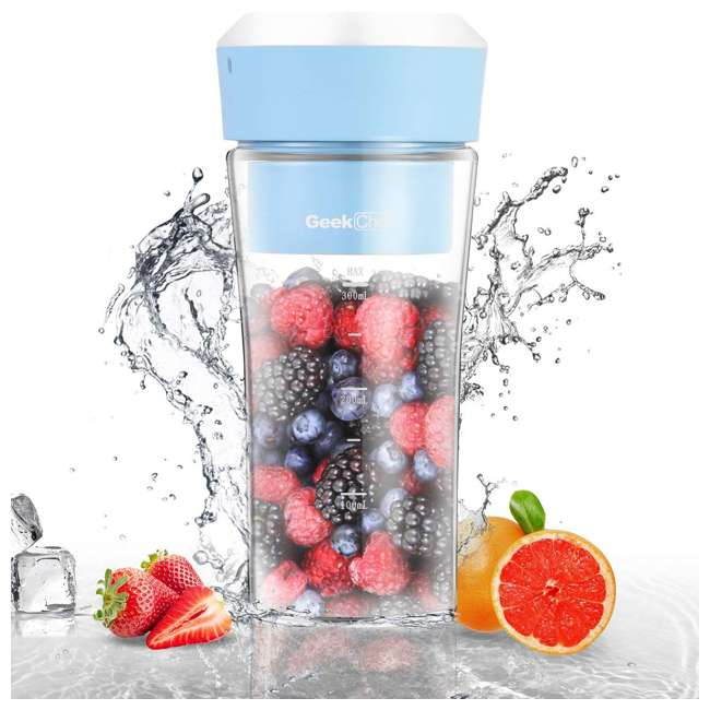 GPB30 + GSC36 Geek Chef 10Oz Portable Cordless Rechargeable Blender & Electric Juice Extractor 1