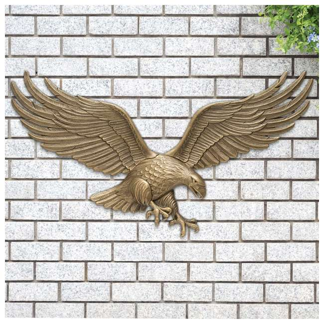 00755 Whitehall 00755 36 Inch Antique Indoor Outdoor Eagle Wall Hanging Plaque, Brass 1