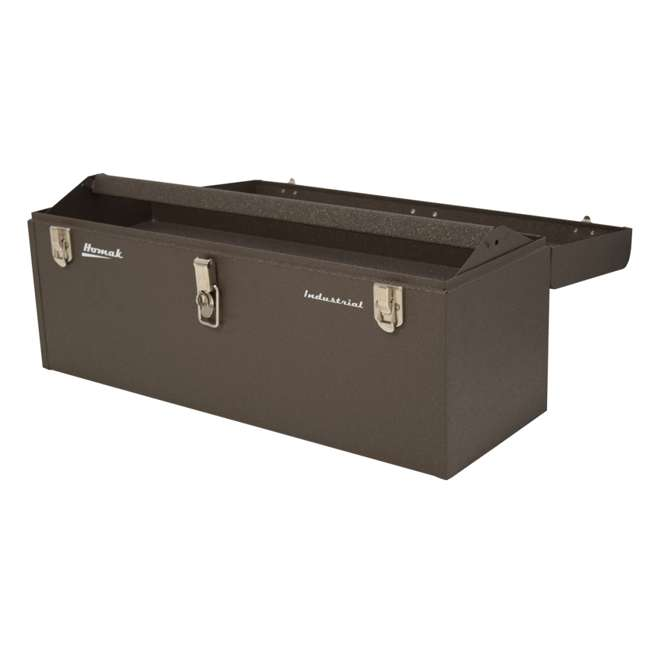 BW00200240 Homak 24 Inch Portable Industrial Steel Toolbox with Powder Coat Finish, Brown