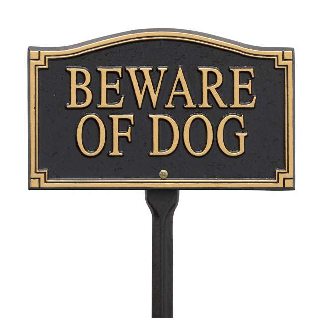01421 Whitehall 01421 Outdoor Metal Beware of Dog Warning Yard Lawn Sign with Stake