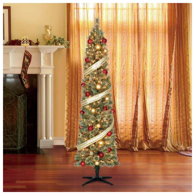 TV70M2638C01 Home Heritage Stanley 7-Foot Pencil Pine Slim Pre-Lit Christmas Tree with Clear Lights and Stand 3