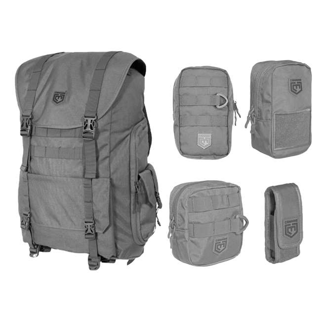 CPG-BP-SARCBND-DG Cannae Pro Gear Sarcina Expedition Multi-Purpose Backpack with 5 Utility Pouches
