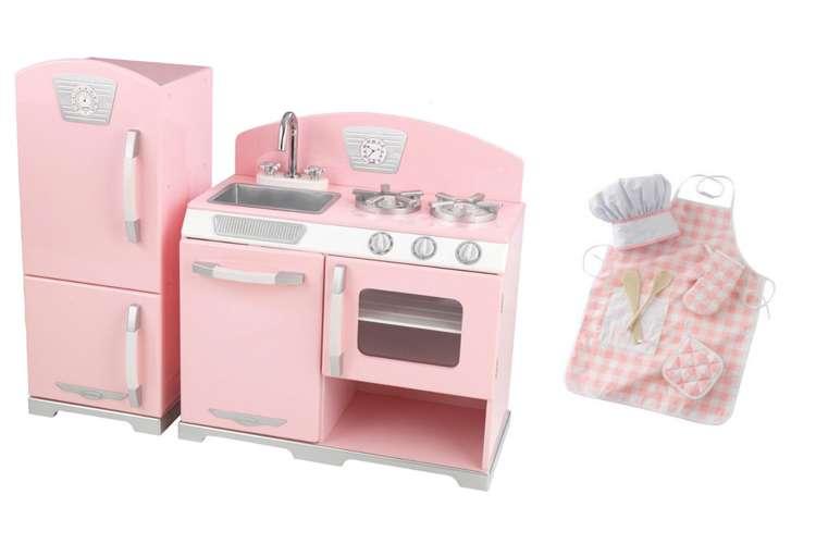 Kidkraft Pink Retro Kitchen Refrigerator With Chef Set 53160 63196