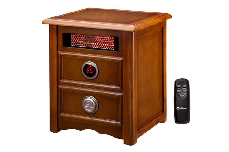 DR-999�DR999 - Dr. Infrared Heater 1500W Electric Cherry Cabinet Nightstand Space Heater w/ Remote