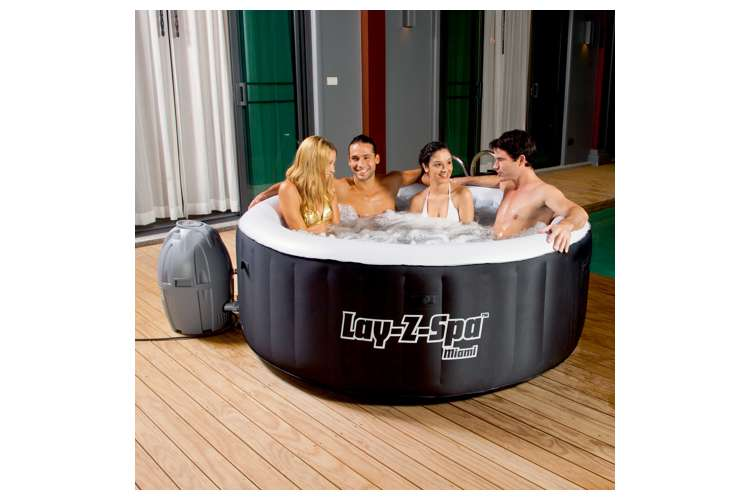 bestway 71 x 26 lay z spa miami inflatable hot tub 54124e. Black Bedroom Furniture Sets. Home Design Ideas