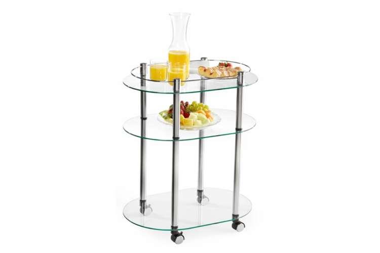 R2-220�Accsense Modern Glass Kitchen Bar Rolling Serving Cart